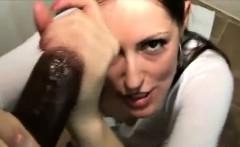 Slut takes huge load over her face