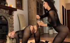 Sultry chick is geeting pissed on and ejaculates wet twat