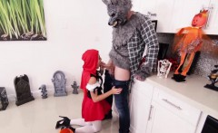 Little red riding hood meets big bad wolf and his big cock