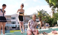Uniformed japanese teens dick riding outdoors