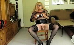 Crossdresser In Stockings Dildo