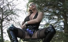 British femdom pegging submissive outdoors
