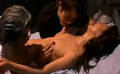 Slender Oriental wife engages in cuckold fucking withe two