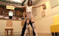 Sexy slim Japanese ballerina with tiny tits gets her snatch