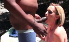Sexy mom sucks and rides black dick outdoor
