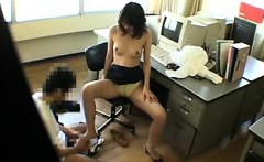 Sexy slim Oriental secretary has fun with a horny guy in th