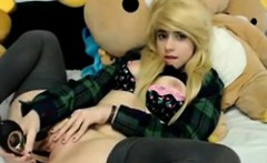 Blonde girl loves to play with dildo