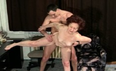 Horny granny gets her pussy stuffed