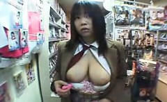 big tit asin babe shows them off in a store then toys her t