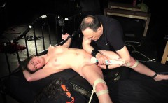 Domination slave game with young bondage slave-girl swallows