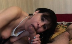ig tit brunette MILF is rewarded with a facial