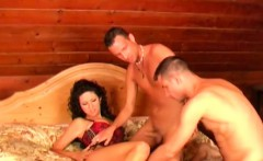perfect brunette getting pussy owned by two gay dudes