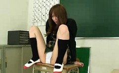 slender japanese girl has a sex toy making her white pantie