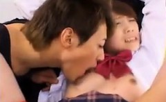 Helpless Oriental schoolgirl gets her honey hole toyed and