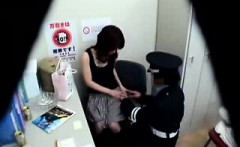 Sexy slender Japanese cutie has a horny cop peeling off her