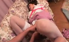 kinky japanese maid in stockings gets tied up and fucked by