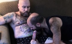 Tattooed Fat Bear Cums After Sixtynine Bj