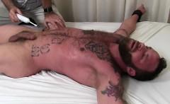 Muscular Derek with tattoos gets that good old tickle stuff