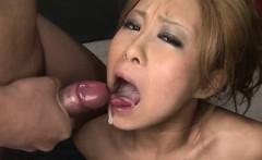 Yuno Shirasu receives cock in each of her shaved holes