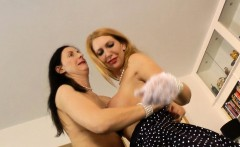 Brit stockinged milf masturbates in les duo