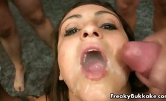 Cum loving Spanish whore eats 20
