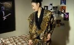 Asian lesbian licks her friends pussy