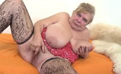 Big tits mature dildo and cumshot