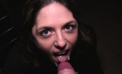 hot brunette fucking huge cock in public