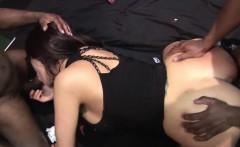 Slutty babe gets long black schlongs in gang bang