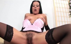 Hairy babe gets jizz on her bush