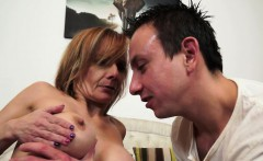 Lusty granny with faketits gets anal creampie