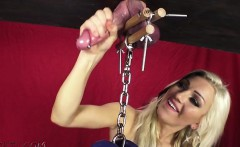 hot pornstar ballbusting with orgasm