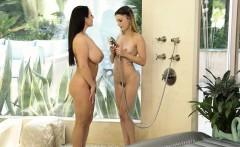 Busty masseuse Angela White pleasuring with Kristen Scott