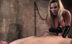 Blonde mistress tied up her cocked slave