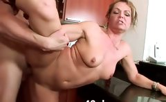 Horny wife hard fucked in her kitchen
