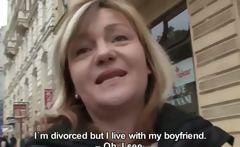 Nasty blonde slut gets horny talking