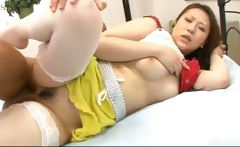 Ai Yuumi has her pussy eaten by a man in tiger striped