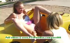 Ashley and Brianna awesome lesbians having sex in a public