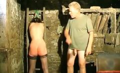 bdsm action in basement where guy ties