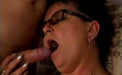 Horny mature wife sucking dick and gets