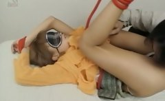 Tied up asian teen girl gets hairy pussy teased