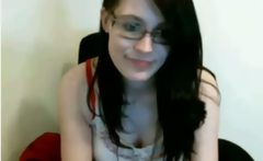 Cute teen flashes on webcam