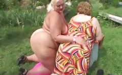 Dirty obese women in bikini making out