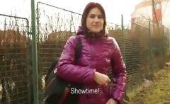 Czech girl public flashing and gets screwed for fast money