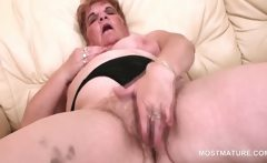 BBW horny mature working her hairy pink pussy