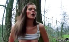 Amateur euro slut flashed her boobs and nailed in the woods