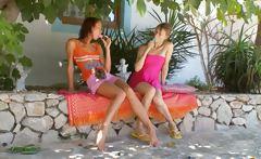 Two Irish lesbian girls dildoing