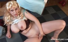 Lonely busty mature fucks herself with fingers on floor