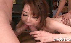 Asian slutty babe riding and blowing three horny cocks