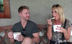 Blonde handsome dude talking a gorgeous MILF into sex